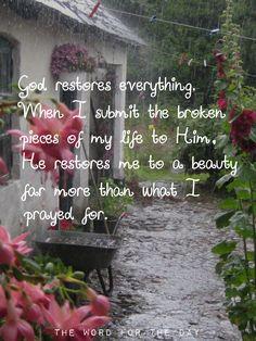 God restores everything!