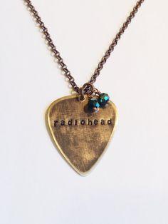 Radiohead Metal Guitar Pick Necklace Vintaj by MallEadornments