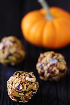 Pumpkin No Bake Energy Bites         8 oz. (about 1 packed cup) chopped dates      1/4 cup honey      1/4 cup pumpkin puree      1 Tbsp. chia seeds or flax seeds      1 tsp. ground cinnamon      1/2 tsp. ground ginger      1/4 tsp. ground nutmeg      pinch of salt      1 cup old-fashioned oats (dry, not cooked)      1 cup toasted coconut flakes      1 cup toasted pepitas (pumpkin seeds)