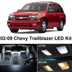 Ledpartsnow 2002 2009 Chevy Trailblazer Led Interior Lights Accessories Replacement Package Kit 16 Pieces White Automotive