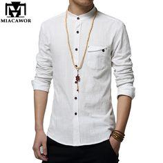 Cotton Linen Men Shirt New 2017 Stand Collar Casual Male Shirt Slim Fit Mens Shirts Long-Sleeve Camisa Hombre Formal Shirts, Casual Shirts For Men, Men Casual, Men Shirts, Stand Collar Shirt, Collar Shirts, White Shirt Men, White Shirts, Camisa Formal