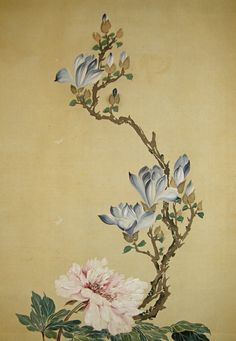 flower paintings | ... Japanese Peony, Magnolia, Kiku Flowers & Butterfly ] Vintage Picture