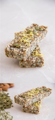 Raw Energy Bars for Girls who Workout Makes 10 bars, in an 8×8 inch tin  1 cup of raw almonds ½ cup of shredded coconut ½ cup of pepitas ¼ cup of hemp seeds ¼ cup of chia seeds + ¼ cup of coconut butter ¼ cup of raw honey 4 tablespoons of coconut oil 4 Medjool dates 1 teaspoon of flaky sea salt Zest of one lemon + ½ cup of oats