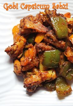 YUMMY TUMMY: Gobi Capsicum Sabzi Recipe / Cauliflower Bell Pepper Sabzi Recipe