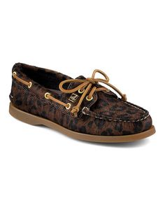 Look what I found on #zulily! Dark Brown Leopard Authentic Original Calf Hair Boat Shoe by Sperry Top-Sider #zulilyfinds