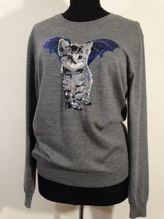 Markus Lupfer Natalie Cat-bat sequin sweater Gray Size Large NWOT #MarkusLupfer…