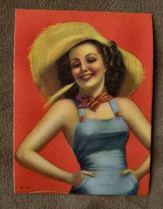 1948 Pin-Up Girl 3 x 4 inch Decal FARM GIRL original vintage., via Etsy.