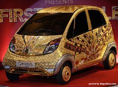 Golden Tata Nano Indian car covered with gold and jewels - for sale for 4.6 million dollars
