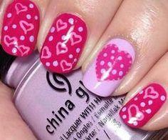 Valentines pink white hearts nail design