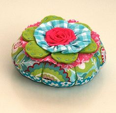 cute pincushion - love the mix of fabrics