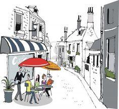 illustration of French cafe street scene Stock Photo - 11020382