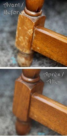 Réparer les égratignures sur un meuble en bois