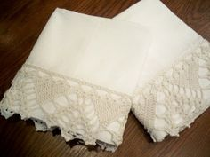 New Tissue Linen Off White Pillow Cases, Elaborate Off White Crocheted Lace, Modern Vintage. $40.00, via Etsy.