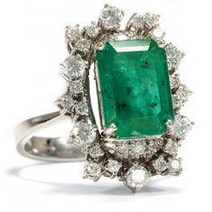 Großer Vintage Ring mit Smaragd & 1,02ct Diamanten in 585 Weißgold / emerald