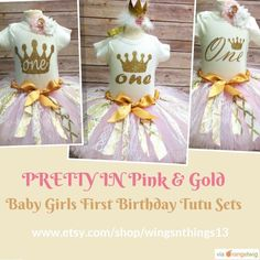 New designs! First Birthday Fabric Tutu Sets! I love making these!!