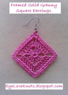Free crochet pattern: Framed Solid Granny Square Earrings in 2 Sizes by EyeLoveKnots