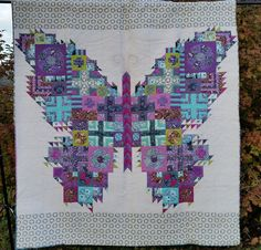"""THE BUTTERFLY Quilt 88"""" X 94"""" Tula Pink Fabrics Acacia, Fox Field, Salt Water, The Birds & The Bees by lavendersugarplum on Etsy"""