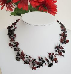 Floating multistrand Red Garnet, Onyx layer choker necklace genuine freshwater pearls and natural gemstone beads illusion cord Layered Choker Necklace, Beaded Necklace, Baroque Pearls, Red Garnet, Beautiful Necklaces, Gemstone Beads, Natural Gemstones, Illusions, Cord