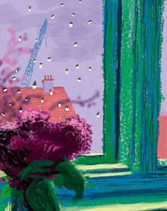 David Hockney Has Made Beautiful (and Rarely Seen) iPad Drawings of the View From His Bedroom Window. David Hockney Ipad, David Hockney Art, David Hockney Paintings, Gravure Illustration, Illustration Art, Iphone Drawing, Pop Art Movement, Renoir, Art World