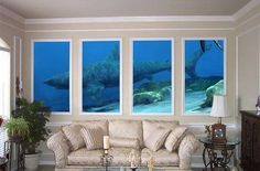 """Shark """"aquarium"""" effect with divided picture. Rooms a little fancy though, but the aquariums cool! Shark Room, Ocean Room, Beach House Decor, Room Themes, Kid Beds, Future House, Wall Murals, Decoration, Home And Garden"""