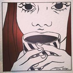 Caffè Americano Available at Spazio Papel Milano via Savona 12  #caffeamericano #milano #illustration #sippingcoffee #blackandwhiteonly #blackfriday #redhead #redhair #lookoverthemug