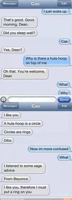 XD excellent. I like you therefore I must put a ring on you. The wise words of Beyonce. Omg love the 'dibs' XD Cas owns him now. Aaaww