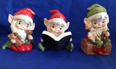 Set of 3 Homco 5406 Santa's Elves Vintage Christmas Holiday Decor by yourmamashouse on Etsy
