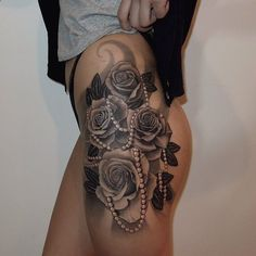 side thigh black white rose tattoo