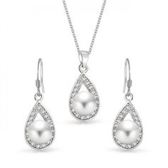 925 Silver Freshwater Pearl Teardrop Earrings Necklace Bridal Jewelry Set