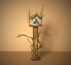 Charming Miniature Bird House For Your Dollhouse by DinkyWorld on Etsy