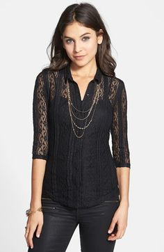 love the black Frenchi® Lace Shirt (Juniors) available at #Nordstrom