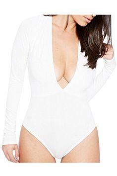 New Trending Bodysuits: PinkWind Womens Plunge Deep V Neck Blouse Tops Short Bodysuit Jumpsuit L White. PinkWind Women's Plunge Deep V Neck Blouse Tops Short Bodysuit Jumpsuit L White  Special Offer: $12.99  299 Reviews PinkWind Women's Plunge V Neck Long Sleeve One Piece Bodysuit Jumpsuit Tag S=US XS:Length 26.77″,Chest 30.31″,Waist 23.62″,Sleeve...