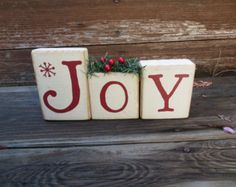 Vintage Believe Christmas Blocks Holiday by DaisyBlossomCreation