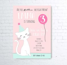 Pink Blue Are you kitten me right meow kitty cat party invite girl first birthday party printable invitations