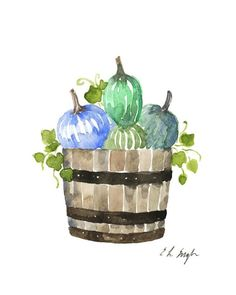 Farmhouse Pumpkins in a Barrel Painting by Elise Engh