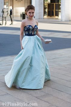 New York city Ballet Gala outfit inspiration: A sophisticated blue gown with floral details | 40plusstyle.com