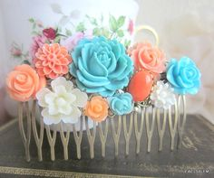 Peach Turquoise Hair Comb Wedding Hair Accessories Flower Bridesmaid Soft Orange Apricot Blue Aqua Bridal Floral Head Piece Chintz Oriental