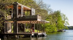 Andersson-Wise assembles new and salvaged materials into rustic Austin boathouse - Deck / Patio / Porch - House Exterior - Treehouse - House Exterior