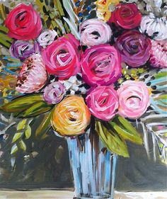 Large Abstract Roses Floral pink lime fuchsia by Marendevineart
