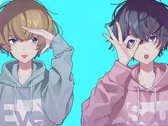 Eve and Soraru Cute Anime Boy, Anime Art Girl, Anime Guys, Chica Anime Manga, Kawaii Anime, Manga Drawing, Manga Art, Anime Friendship, Estilo Anime