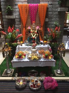 Diwali Decorations At Home, Home Wedding Decorations, Festival Decorations, Flower Decorations, Gauri Decoration, Ganpati Decoration Design, Ganesh Chaturthi Decoration, Housewarming Decorations, India Home Decor