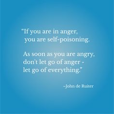 """""""If you are in anger, you are self-poisoning. As soon as you are angry, don't let go of anger - let go of everything.""""–John De Ruiter Dont Let Go, Don't Let, Let It Be, Let Go Of Anger, Let Go Of Everything, Inspirational Quotes With Images, Letting Go, Self, Lets Go"""
