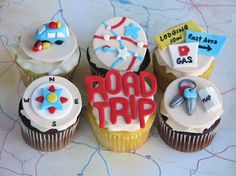 Road Trip Themed Cupcake Toppers. wine theme or road trip theme? For Corals bday trip to wine country