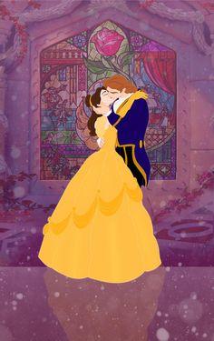 Beauty and the Beast. Belle and Adam. Disney Pixar, Walt Disney, Disney Fan Art, Deco Disney, Disney And Dreamworks, Disney Magic, Disney Movies, Disney Cast, Disney Stuff