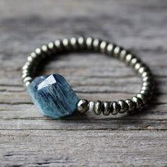Kyanite Pyrite 14k White Gold Bracelet /  BeadworkBright Blue Gold Natural Stone, Teal Aqua Deep Sea Blue, Boho Gemstone Statement Bracelet by byjodi on Etsy