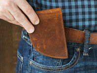 Rogue Industries' front pocket wallets, discovered by The Grommet, are less stressful on your back. Made in Maine with moose leather and designed to fit well.