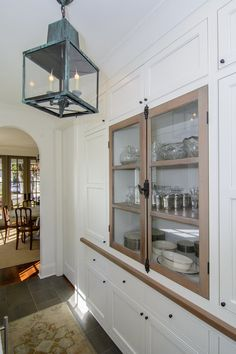 New Construction — Slate Barganier Building Cottage Homes, Cottage Style, White Stucco House, Dining Room Hutch, Stucco Homes, Stone Cottages, Kitchen Cabinetry, Cabinets, Hallway Decorating
