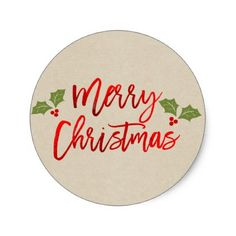 Merry Christmas Red Faux Foil Modern Script Kraft Classic Round Sticker - glam gifts unique diy special glamour