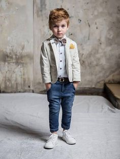 Baptism outfit-Boy Outfit Bearer Outfit - Boy First Birthday Outfit-Photo outfit-Ring Boy Suit -Ecru Jacket with jean pants outfit Little Boy Outfits, Baby Boy Outfits, Little Boys Suits, Kids Fashion Boy, Toddler Fashion, Baby Boy Baptism Outfit, Outfits Niños, Kids Suits, Designer Kids Clothes
