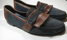 BALLY 11M Rich Blue Suede Brown Leather Loafers Italy RARE Quality Made  #Bally #LoafersSlipOns